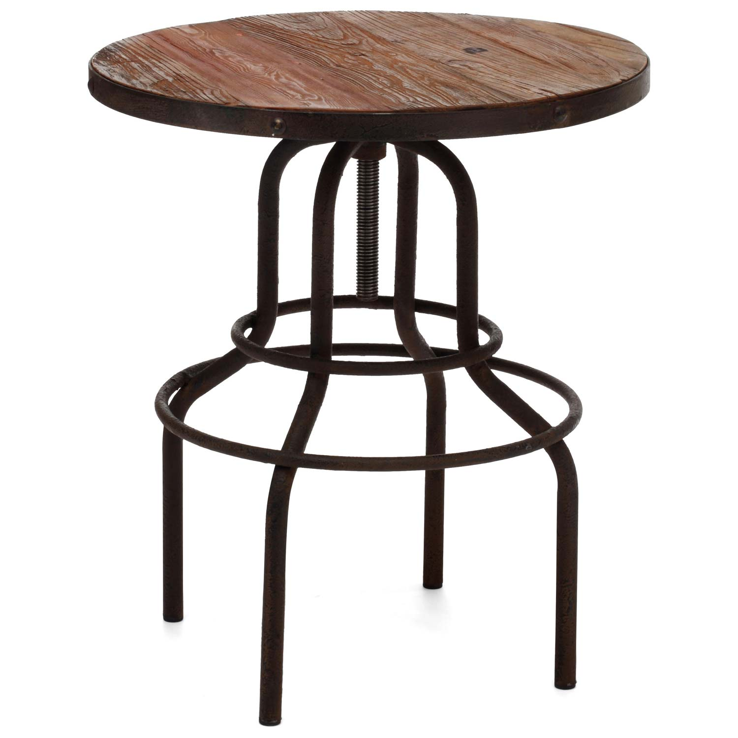 Twin Peaks Round Bistro Table - Antique Metal, Distressed Natural - ZM-98180