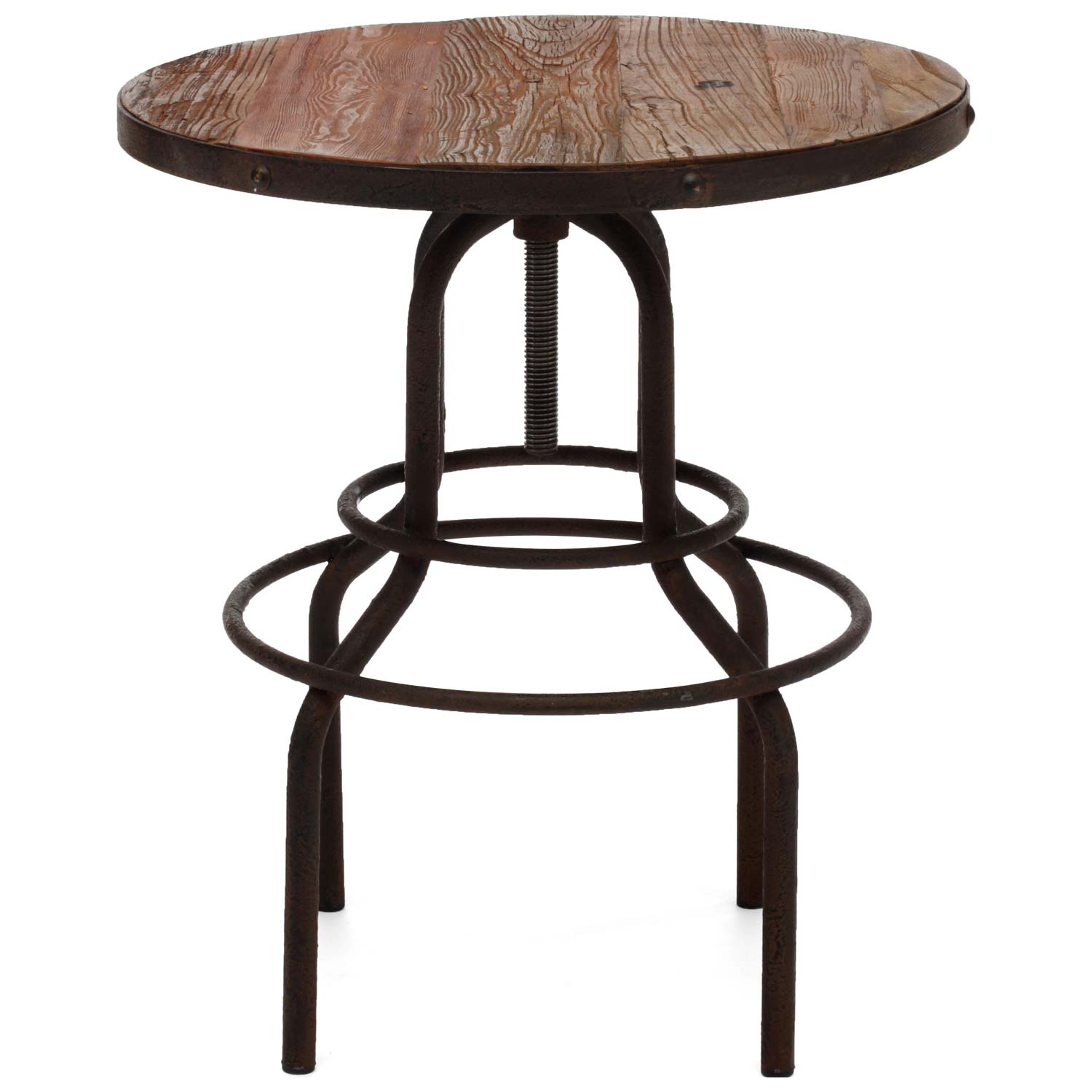 ... Twin Peaks Round Bistro Table   Antique Metal, Distressed Natural    ZM 98180 ...