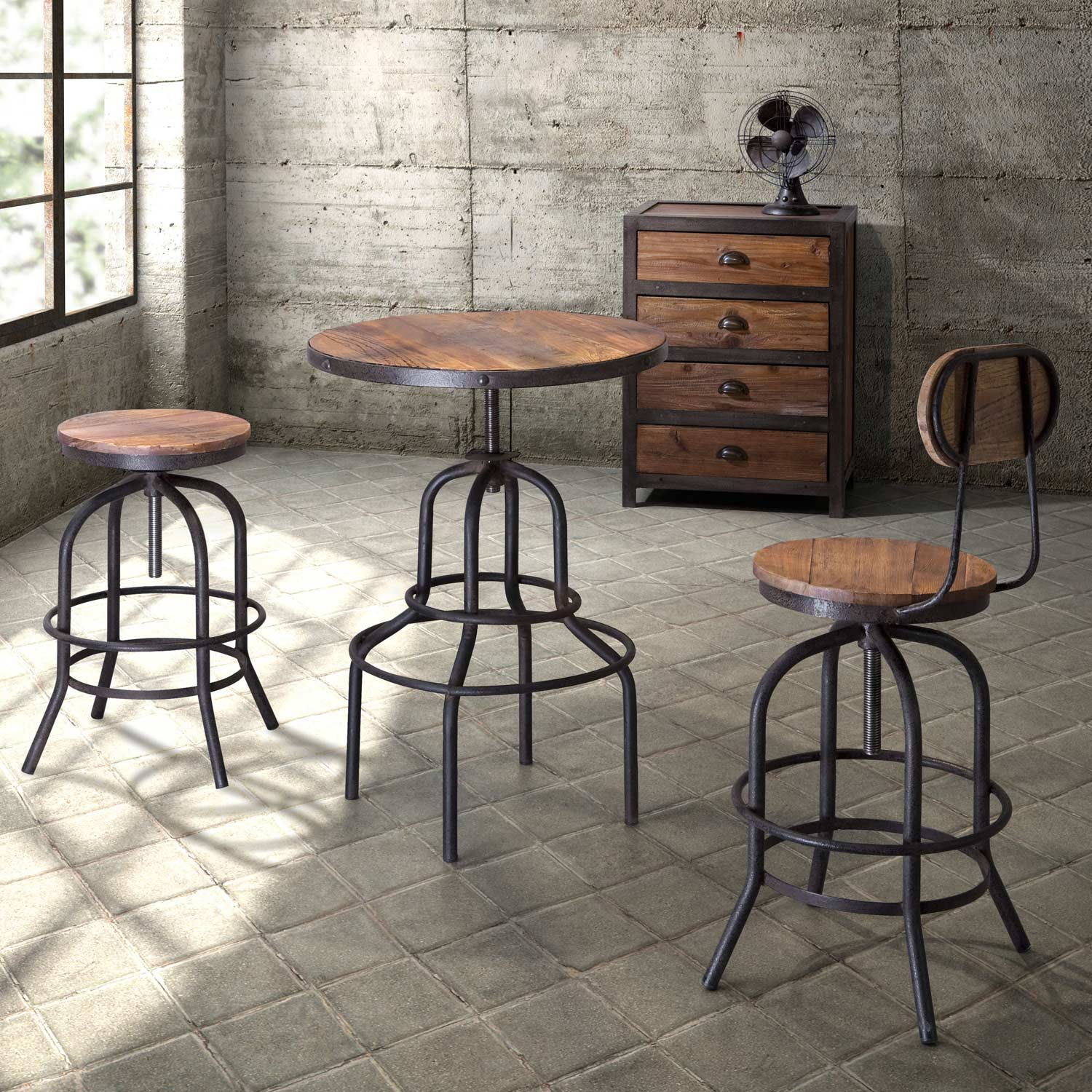 Twin Peaks Round Bistro Table Antique Metal Distressed