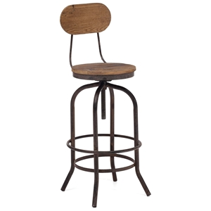"Twin Peaks 28"" Bar Chair - Antique Metal, Distressed Natural"