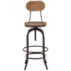 "Twin Peaks 28"" Bar Chair - Antique Metal, Distressed Natural - ZM-98181"