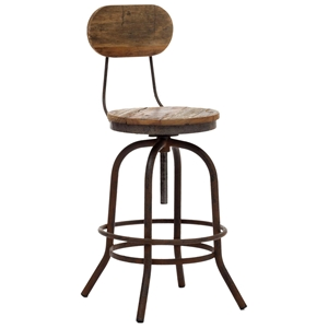 "Twin Peaks 24"" Counter Chair - Antique Metal, Distressed Natural"