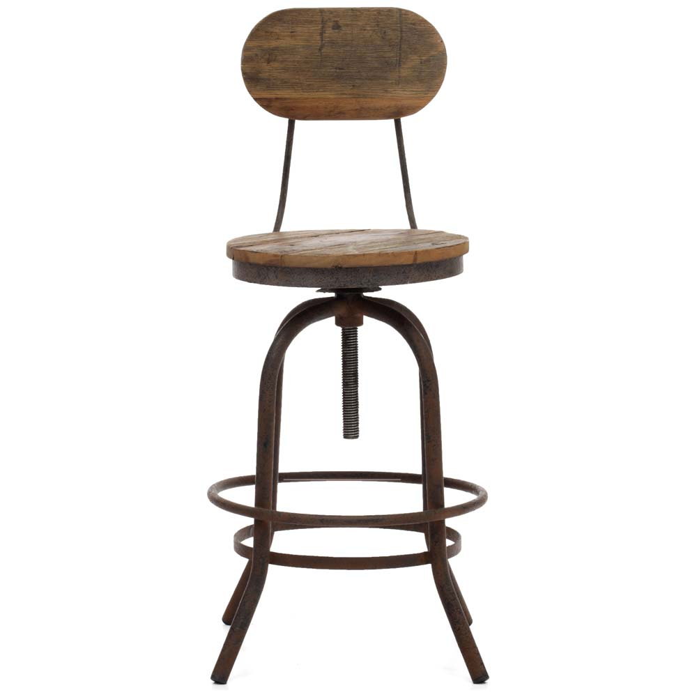 "Twin Peaks 24"" Counter Chair - Antique Metal, Distressed Natural - ZM-98182"