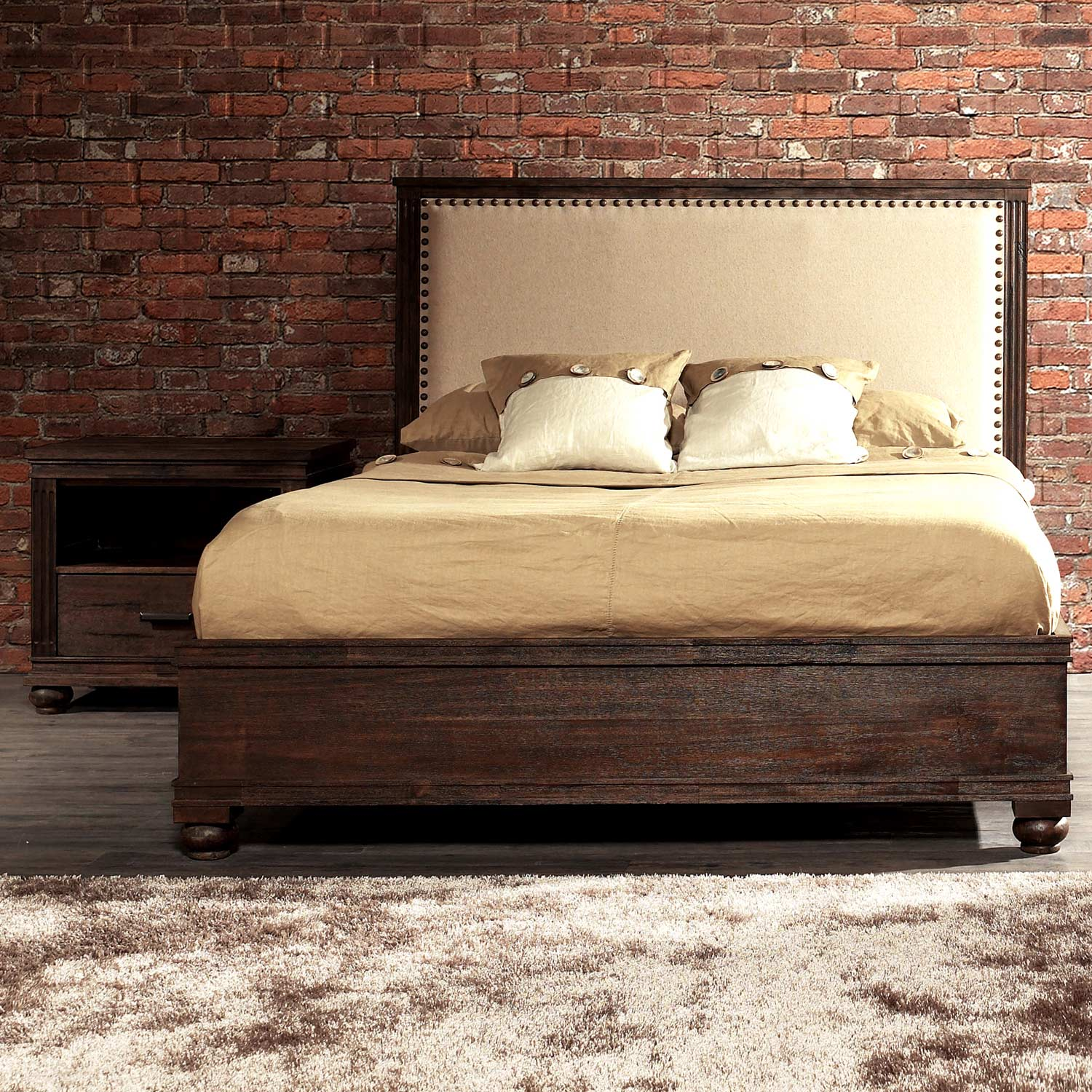 The City Bedroom Set - Linen Headboard, Bun Feet, Dark Brown