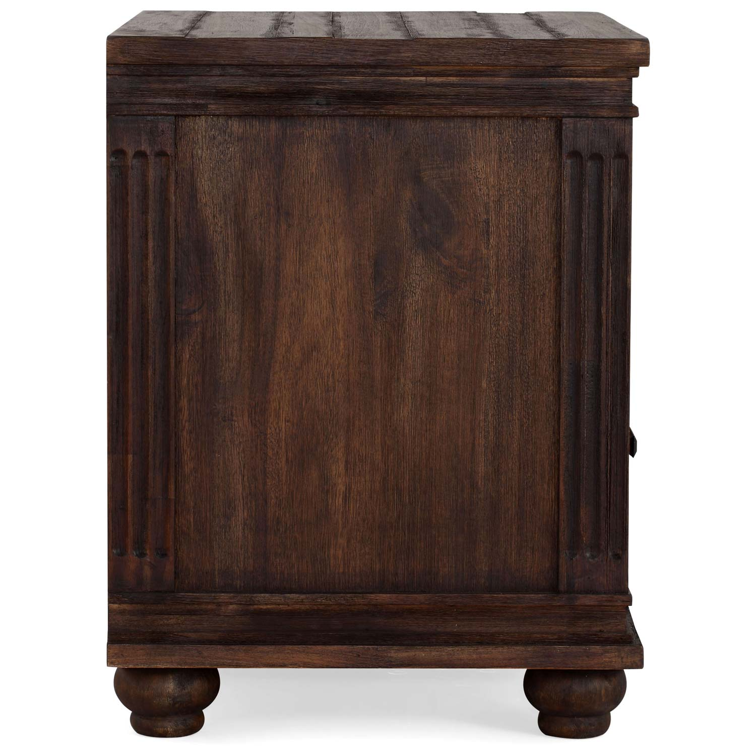 The City Wooden Nightstand - Bun Feet, Dark Brown - ZM-98207