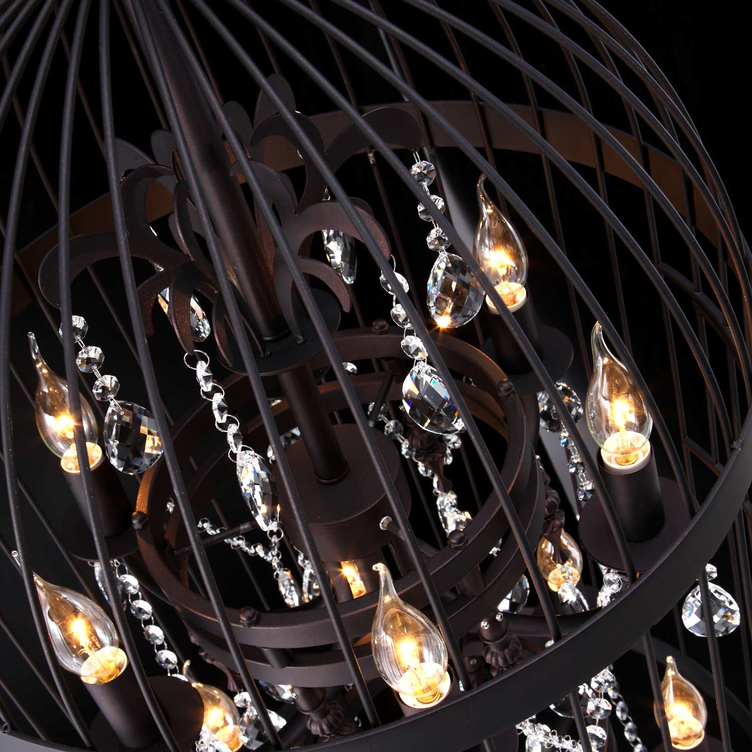 Canary Ceiling Lamp - Rust Finish, Glass Crystals, Birdcage - ZM-98240