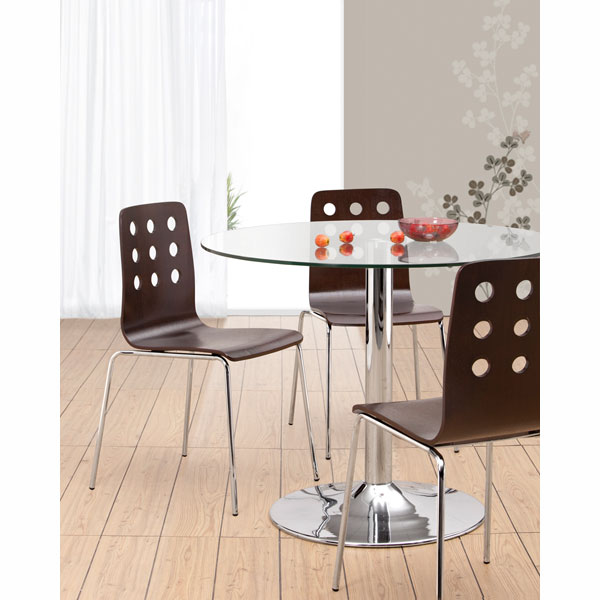 Dining Chair Bw Bh Galaxy Clear Glass Table