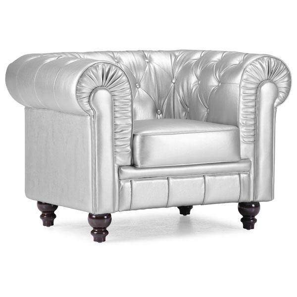 Beau Aristocrat Tufted Armchair   Silver   ZM 900102 ...