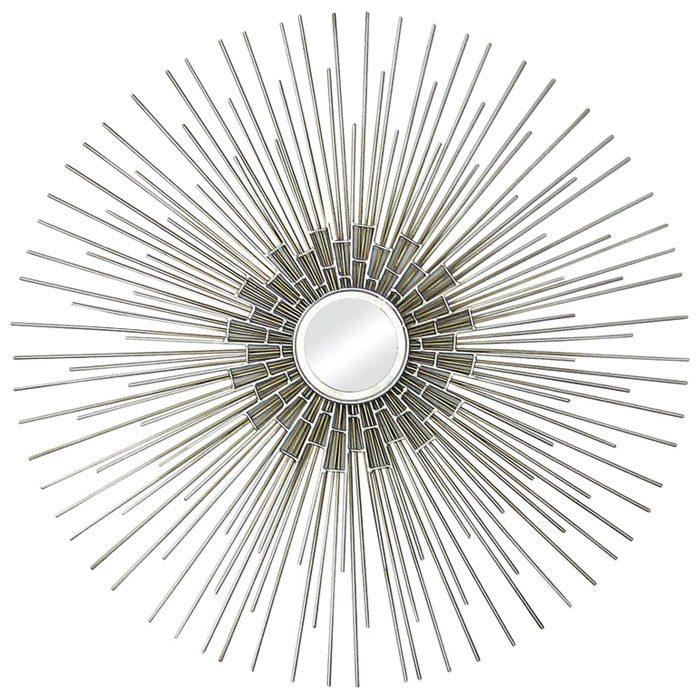Arizona Wall Art - Silver Leaf, Metal Spokes, Round Mirror  DCG Stores