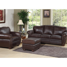 Berkeley 3 Piece Sofa Set in Dark Brown Leather