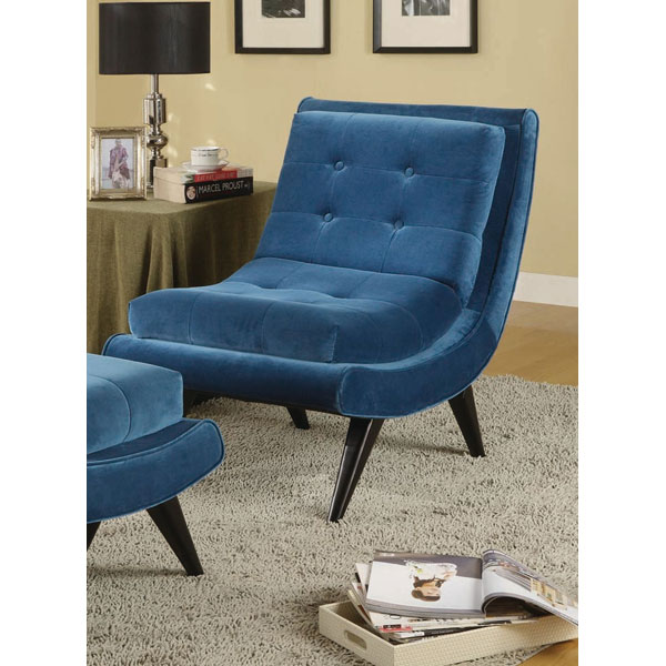 5th Avenue Armless Lounge Chair - Cerulean Blue