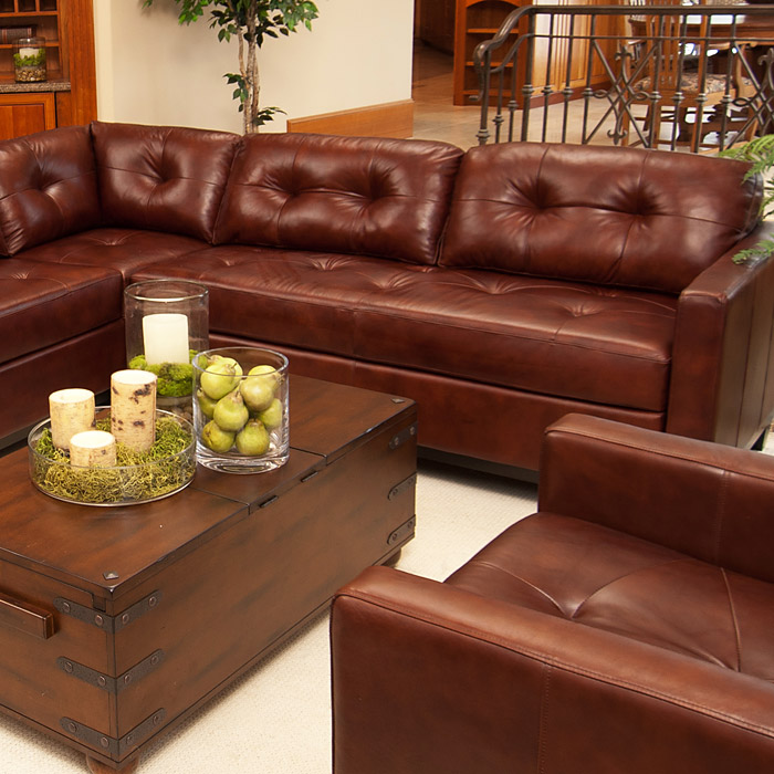 Carlton Brown Raisin Leather Sectional and Chair Set