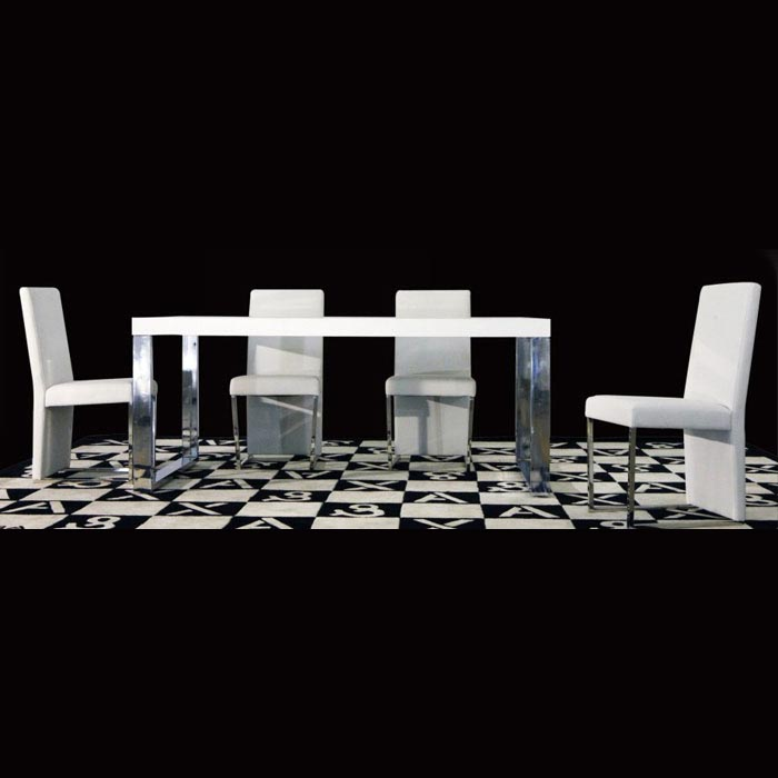 Armani Xavira White Dining Set with Extending Table
