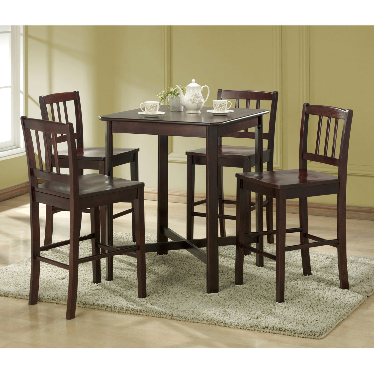 5-Piece Wood Pub Table Set in Espresso