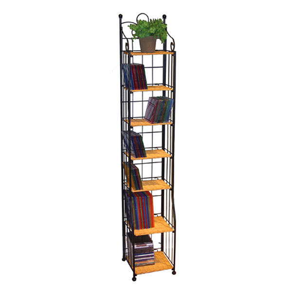 Wicker and Metal Tall Multimedia Stand