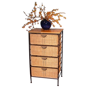 4 Drawer Wicker Baskets Stand