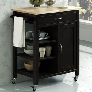 Edmonton Kitchen Cart- Black, Natural Wood Top, Shelves
