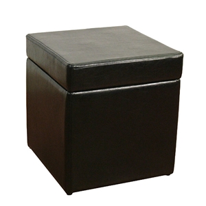 Faux Black Leather Box Ottoman with Storage Space