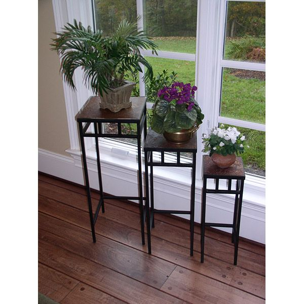 3 Piece Slate Square Plant Stands w/ Slate Tops