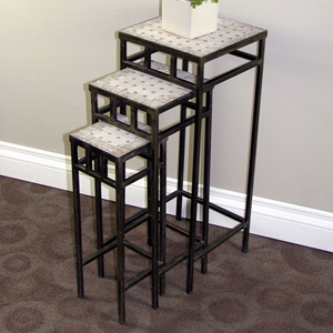 3-Piece Square Plant Stands - Travertine Tops, Metal Bases
