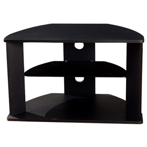 Corner TV Stand - Black, Glass Shelf