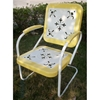 Retro Metal Outdoor Chair - White & Yellow, Sled Base