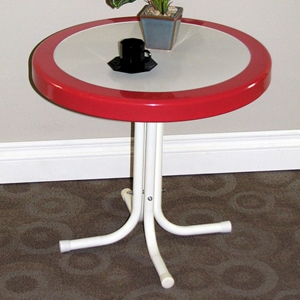 Retro Metal Round Side Table - White & Red Coral