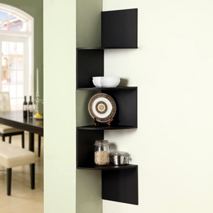 Hanging Corner Display Unit - 4 Shelves, Black Finish
