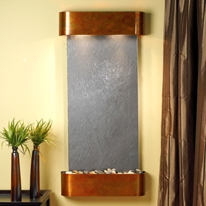 Cascade Springs Round Trim Copper Frame Wall Fountain in Black Featherstone