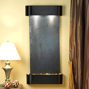 Cascade Springs Wall Fountain in Black Slate with Blackened Copper Frame