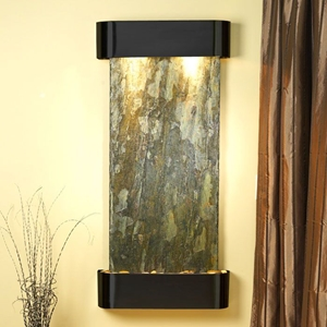 Cascade Springs Blackened Copper Frame Wall Fountain in Green Slate