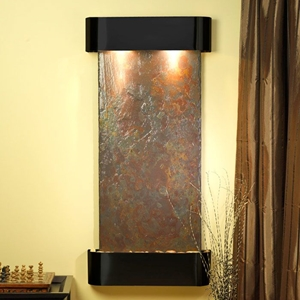 Cascade Springs Rajah Slate Wall Fountain with Blackened Copper Frame