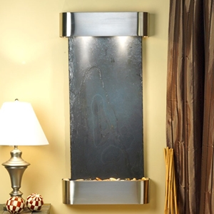 Cascade Springs Wall Fountain in Black Slate with Round Trim