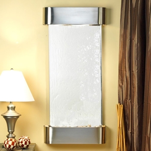 Cascade Springs Silver Mirror Wall Fountain with Round Trim