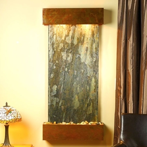 Cascade Springs Square Edge Copper Frame Wall Fountain in Green Slate