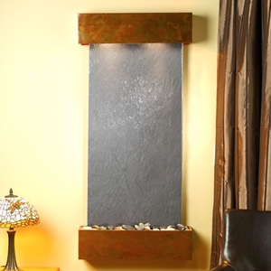 Cascade Springs Square Edge Copper Frame Wall Fountain in Black Featherstone