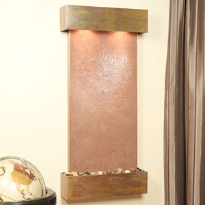 Cascade Springs Terra Red Featherstone Wall Fountain - Square Trim Copper Frame
