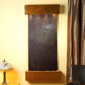 Cascade Springs Rajah Featherstone Wall Fountain - Square Edge Copper Frame