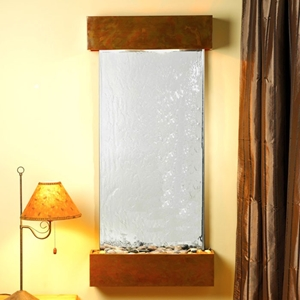 Cascade Springs Silver Mirror Wall Fountain with Square Trim Copper Frame