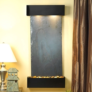 Cascade Springs Wall Fountain in Black Slate with Square Trim