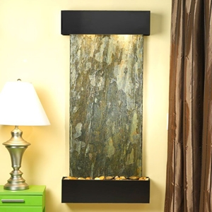Cascade Springs Square Edge Wall Fountain in Green Slate