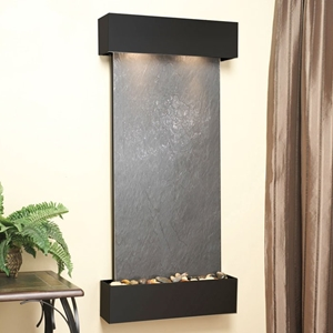 Cascade Springs Wall Fountain in Black Featherstone - Square Trim