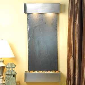 Cascade Springs Wall Fountain in Black Slate with Stainless Steel Frame