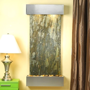 Cascade Springs Stainless Steel Frame Wall Fountain in Green Slate