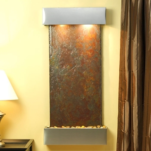 Cascade Springs Rajah Slate Wall Fountain with Stainless Steel Frame
