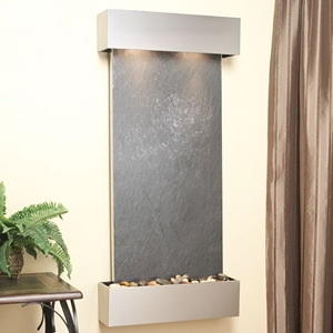 Cascade Springs Wall Fountain in Black Featherstone - Stainless Steel Frame