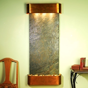 Inspiration Falls Wall Fountain in Green Slate with Round Trim Copper Frame