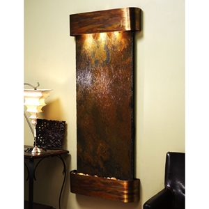 Inspiration Falls Black with Rust Slate Wall Fountain - Round Trim Copper Frame