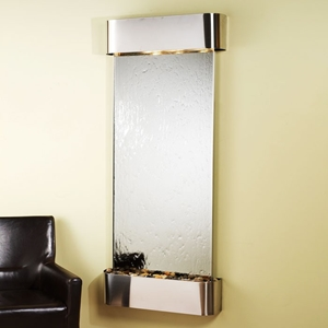 Inspiration Falls Silver Mirror Wall Fountain - Round Trim Frame