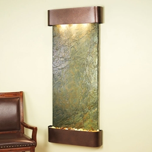 Inspiration Falls Wall Fountain in Green Slate with Copper Vein Frame